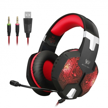 Headset Gaming Jeecoo Stereo PC Gaming Headset 7 Colors Breathing LED Light Over-ear.